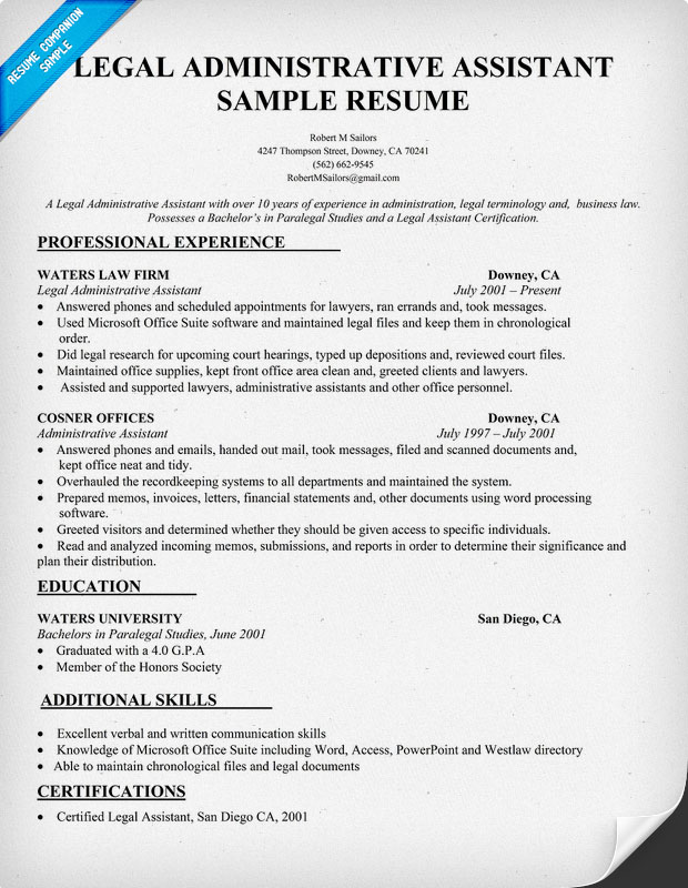 assistant legal assistant resume sample - Legal Assistant Resume