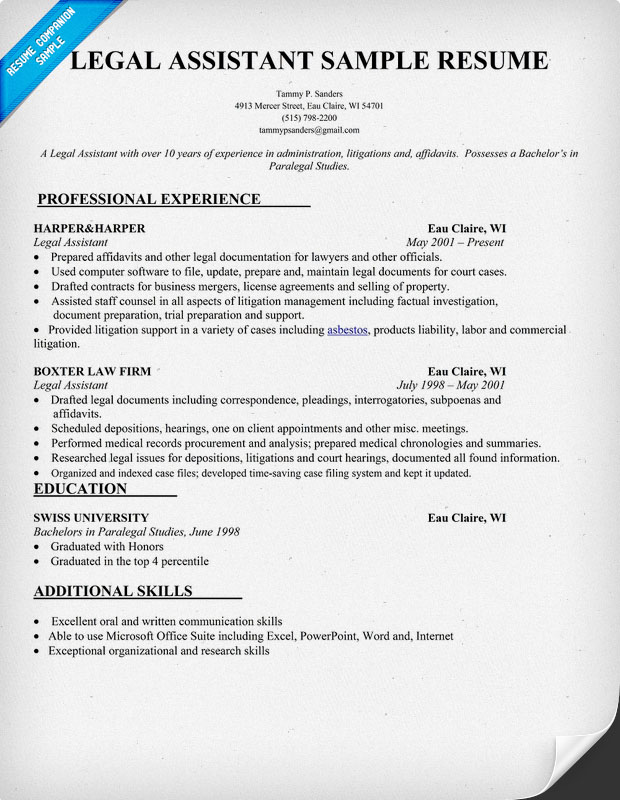 Legal Secretary Resume Examples | Free Resume Template