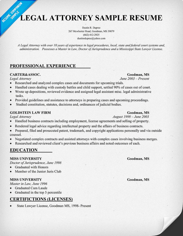 Legal Attorney Resume Sample