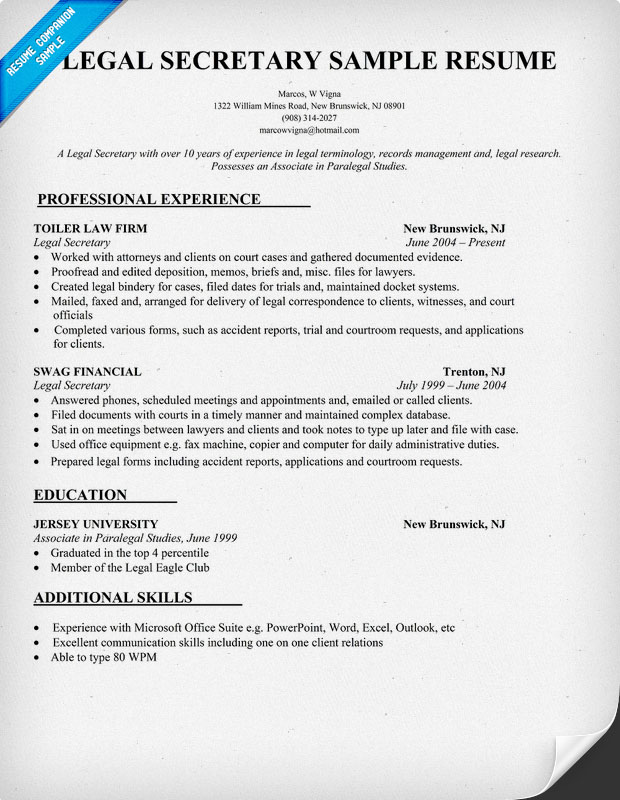 sample legal resumes - Legal Resume Examples