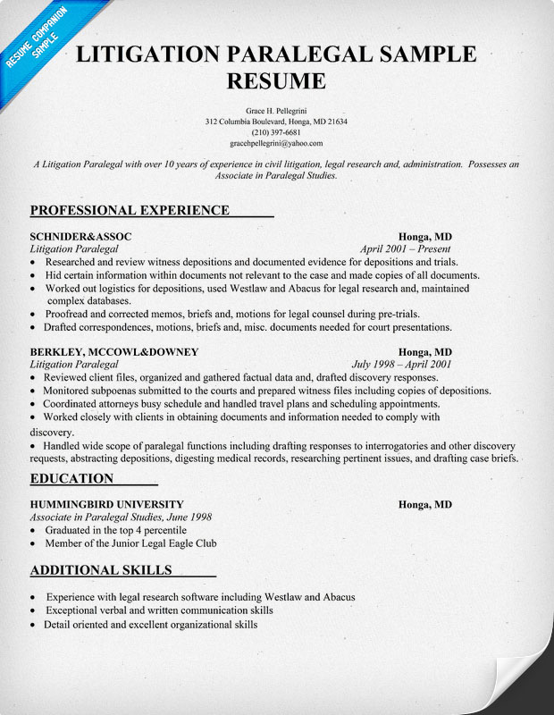 Resume for paralegal position