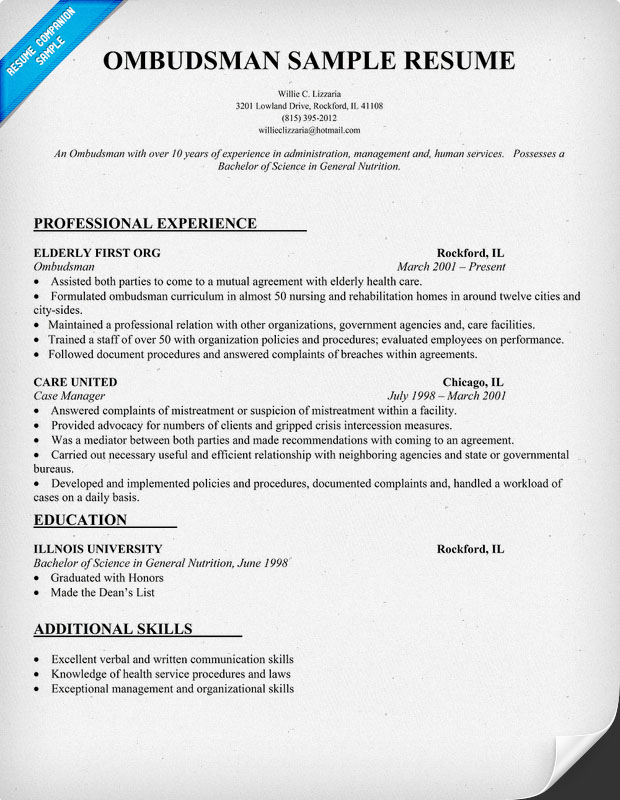 Ombudsman Resume Sample