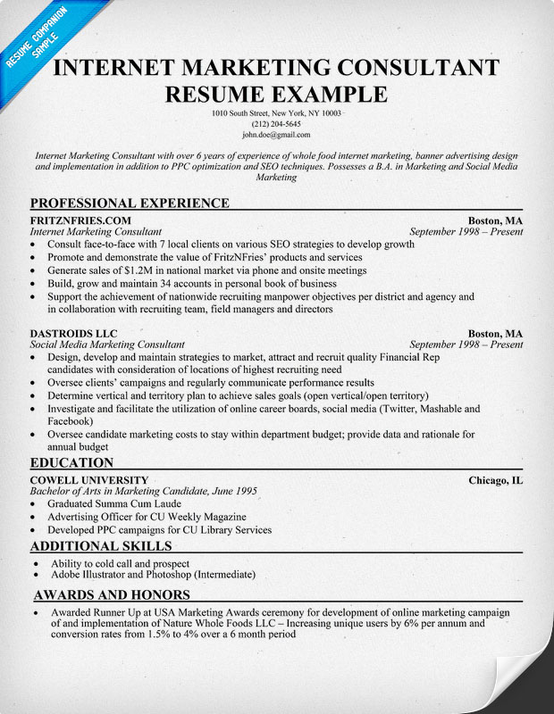 Great Marketing Resume Examples - Template