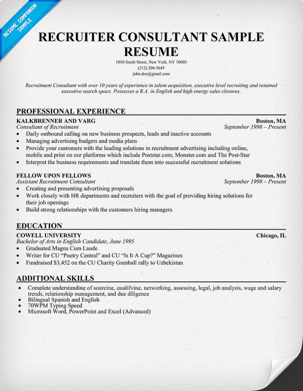 Sample Recruiter Resume