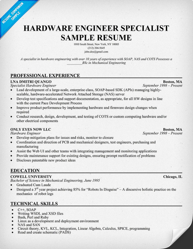Hardware Engineer Specialist Resume Sample