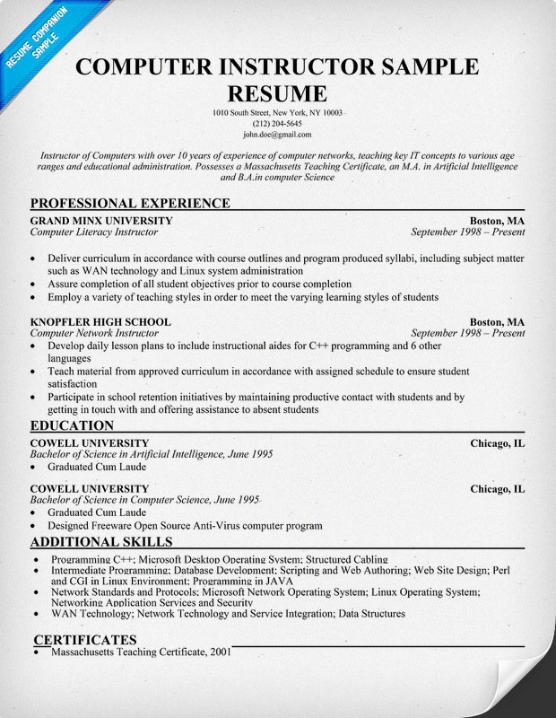 Computer free instructor resume sample
