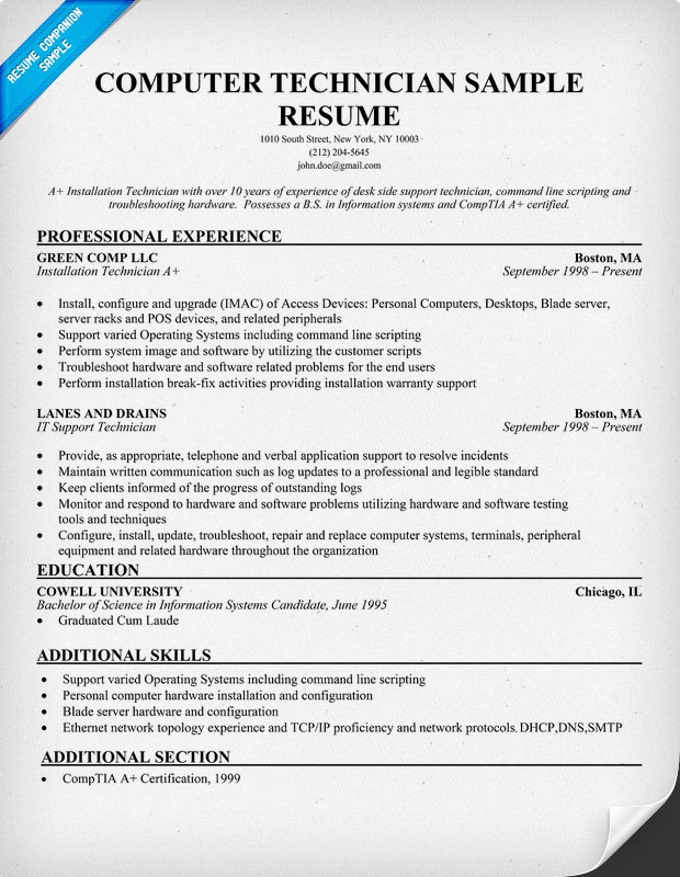 Sample resume applying computer technician