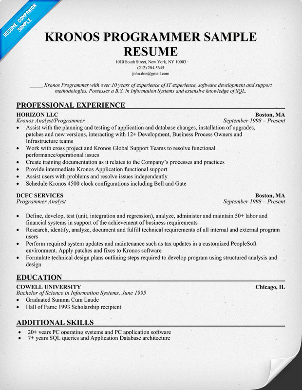 KRONOS Programmer Resume Sample