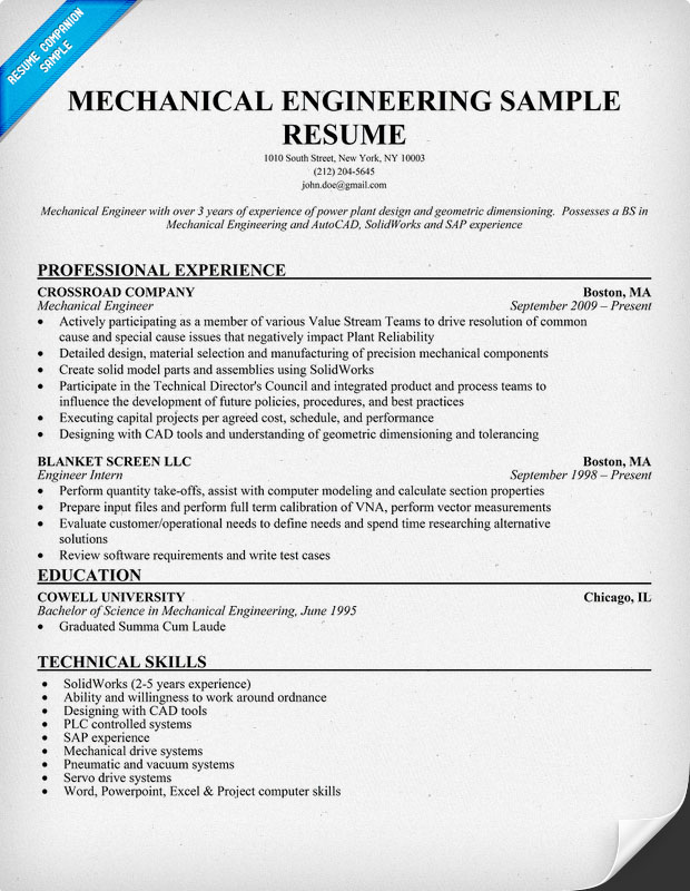 Mechanical Engineering Resume Sample