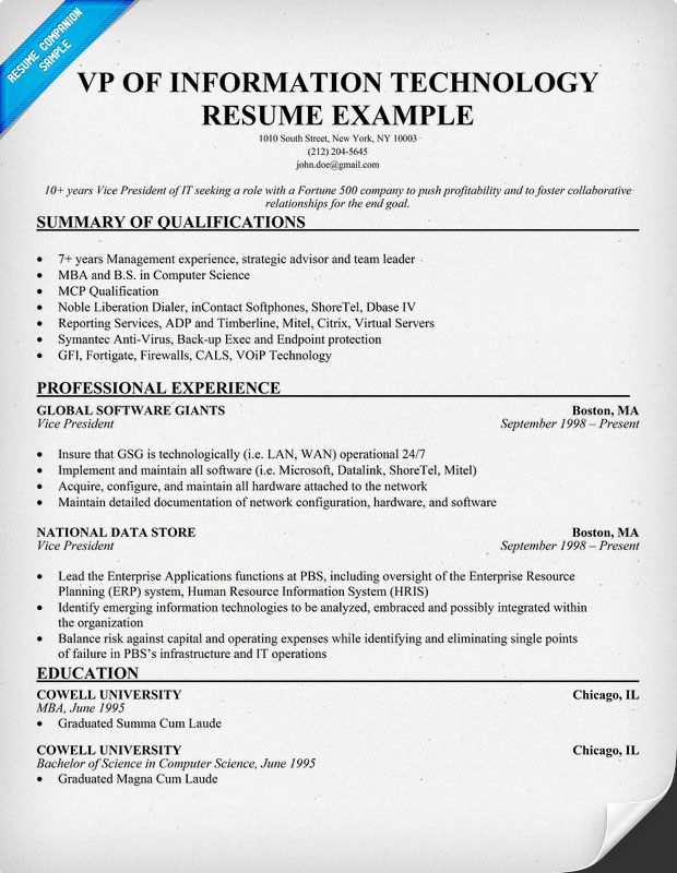 information technology resume exles information