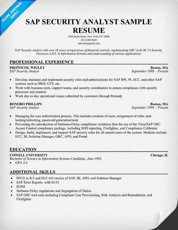 SAP Security Analayst Resume Sample