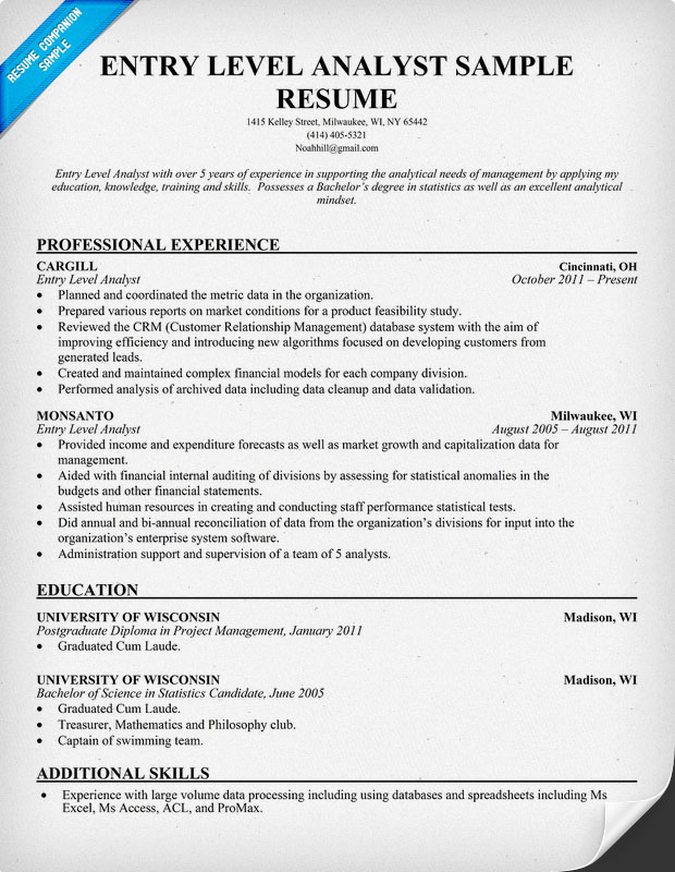 Business entry level resume