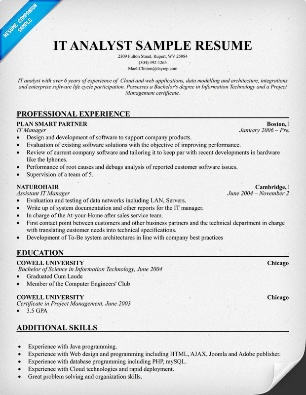 sample resume data analyst converza co - Test Analyst Sample Resume