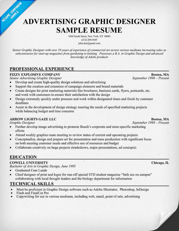 advertising graphic designer resume template