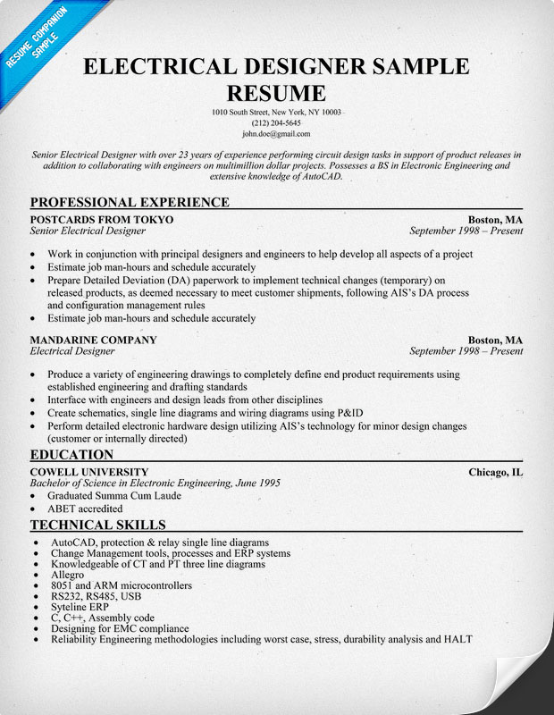 Electrical Designer Resume Sample