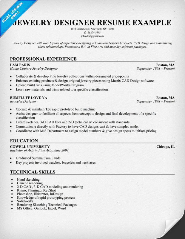 Jewelry Designer Resume Sample
