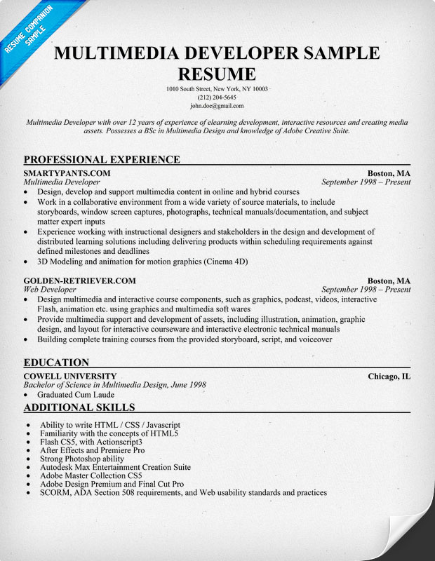 Multimedia Developer Resume Sample