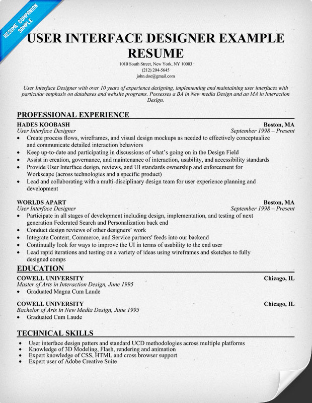 User Interface Designer Resume Example