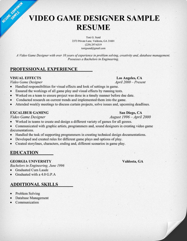Video Game Designer Resume Sample