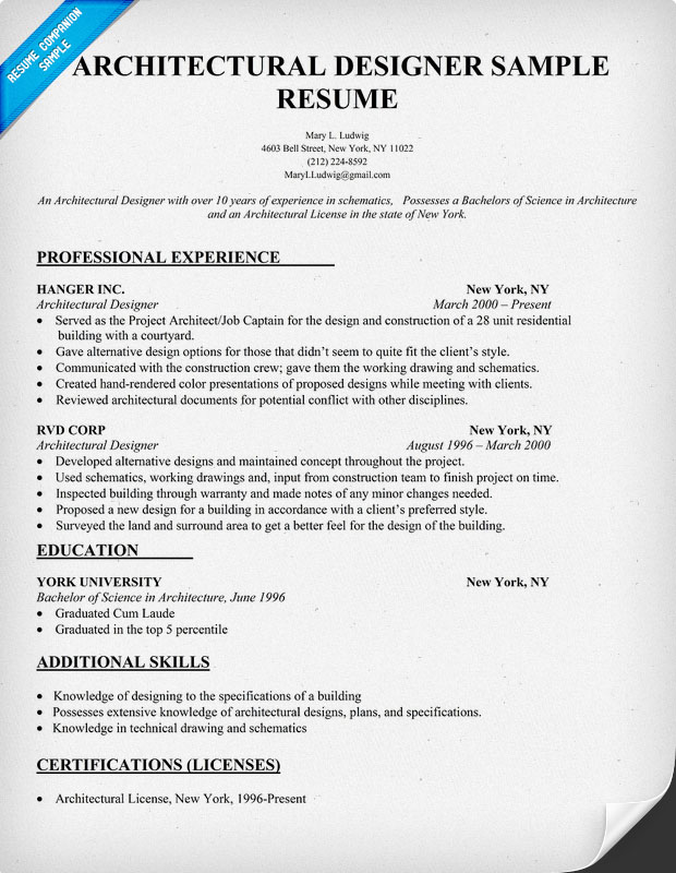 Architectural Designer Resume Sample