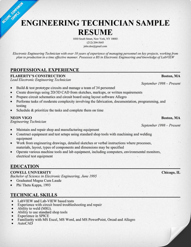 Engineering Technician Resume Sample