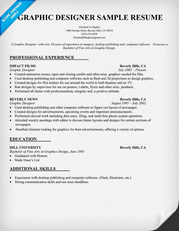 samples graphic designer resume