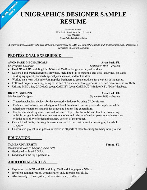 Unigraphics Designer Sample Resume