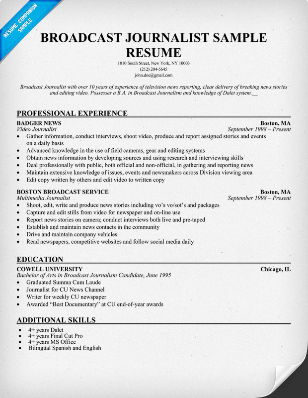 Broadcast Journalist Sample Resume