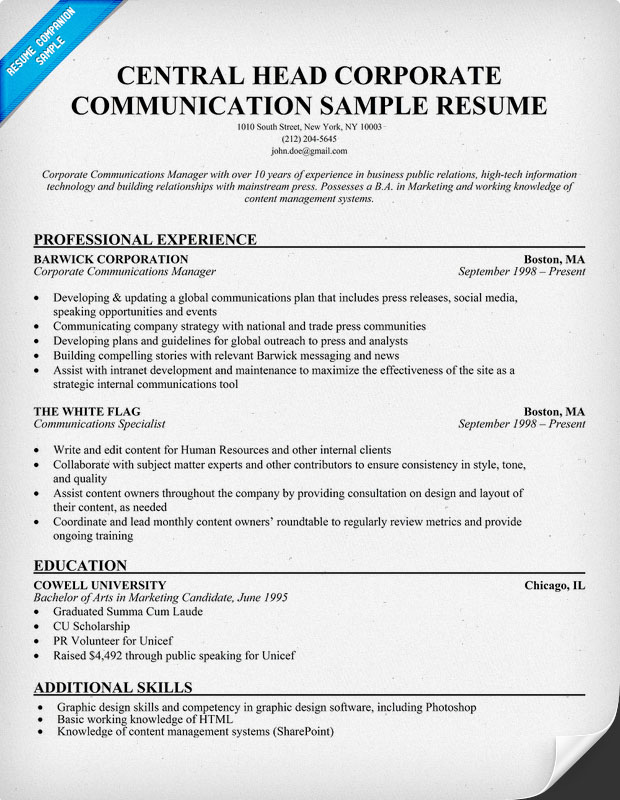 Central Head Corporate Communication Resume Sample