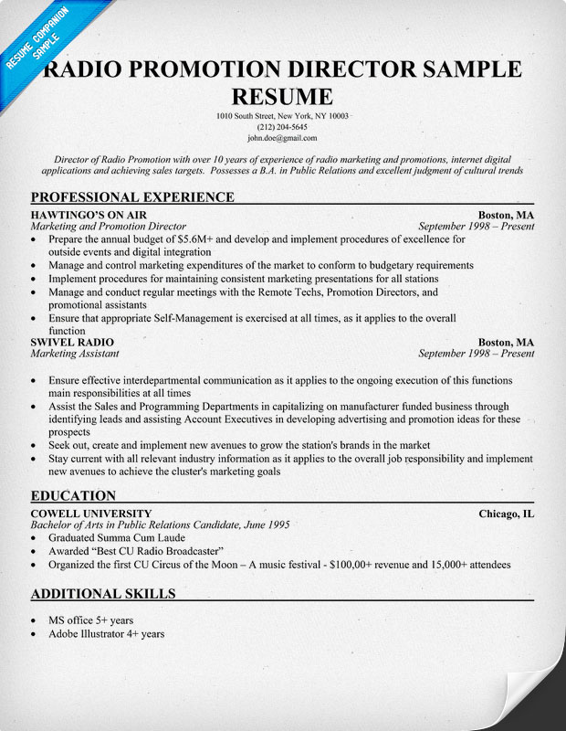 Radio Promotion Director Sample Resume