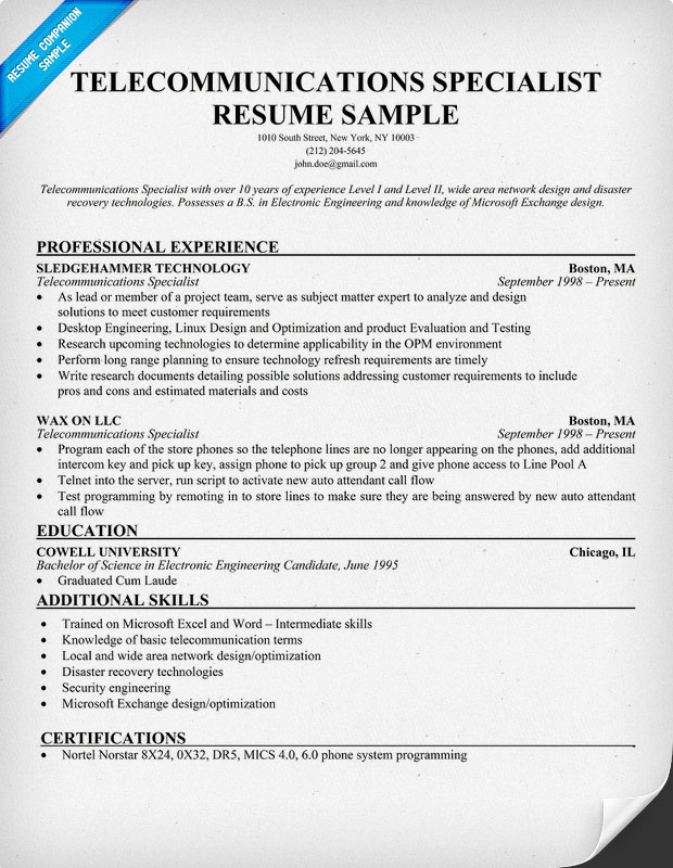 Telecommunications Specialist Resume Sample