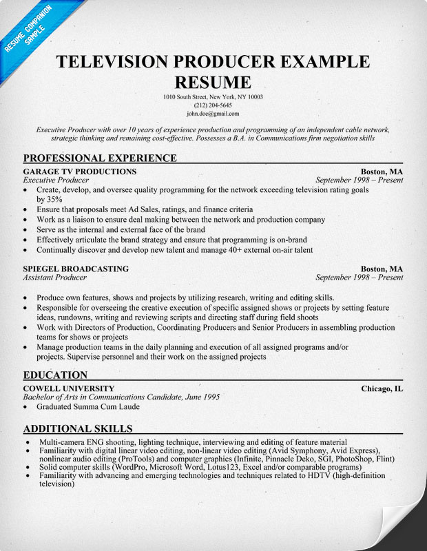 Television Producer Example Resume