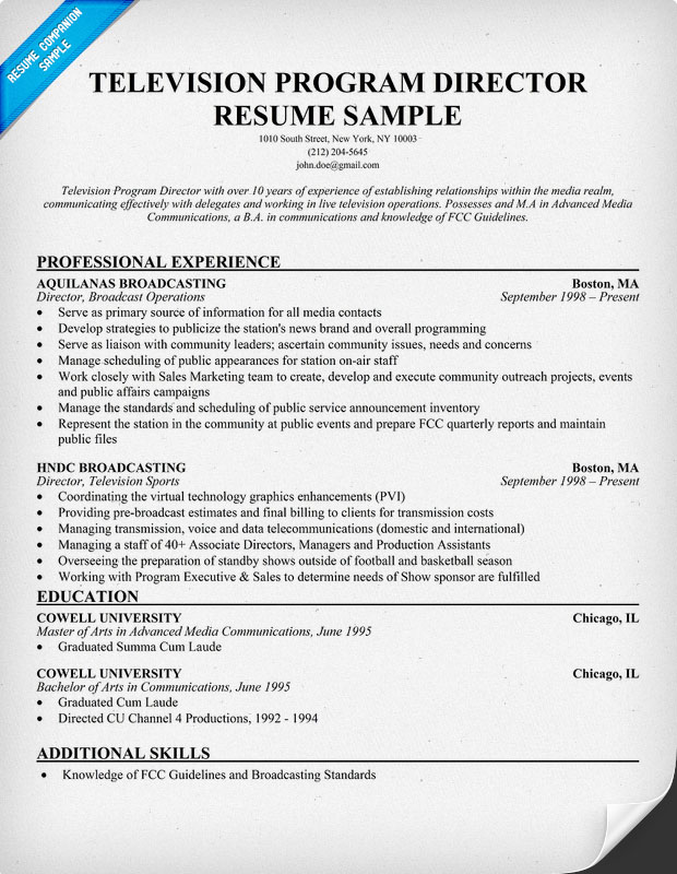 Television Program Director Resume Sample