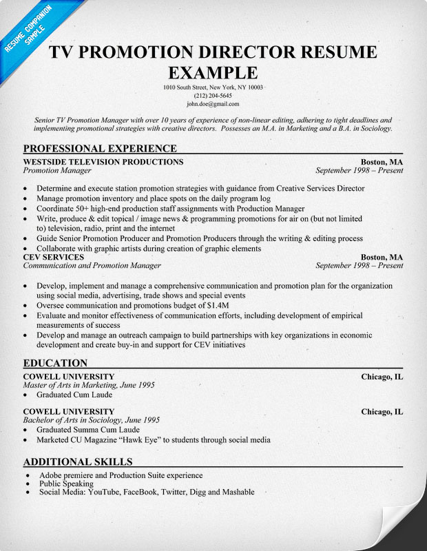 TV Promotion Director Resume Example