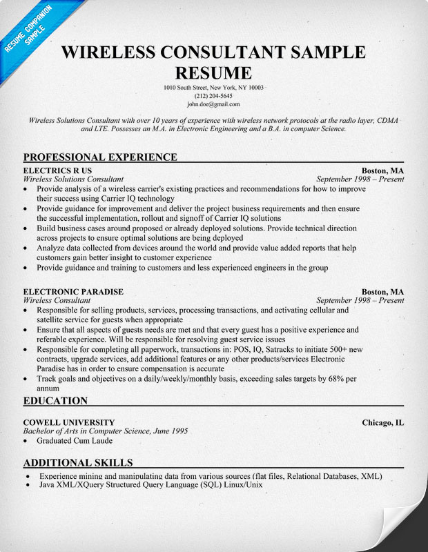 wireless consultant resume sle