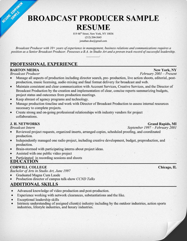 Broadcast Producer Sample Resume