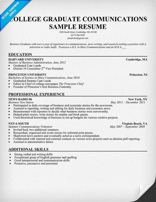 College Graduate Communications Sample Resume