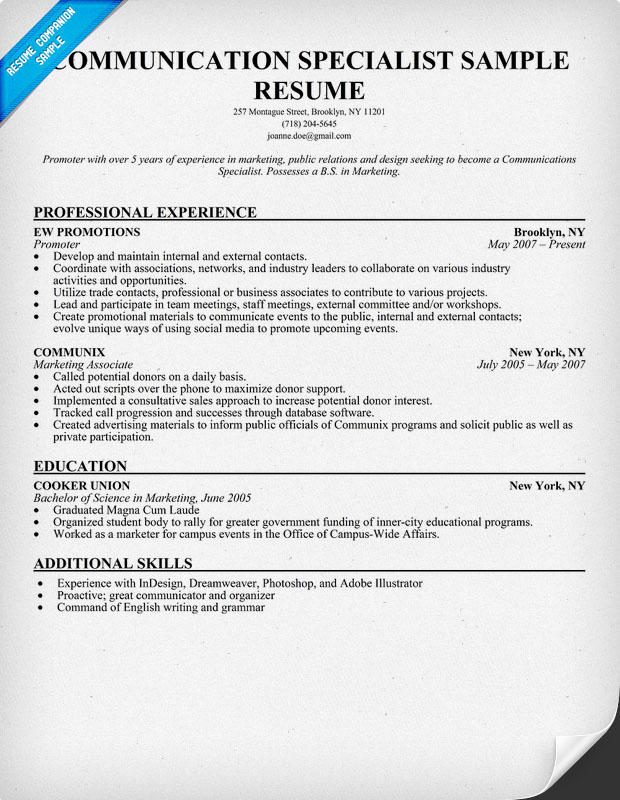 Communications Specialist Resume Sample