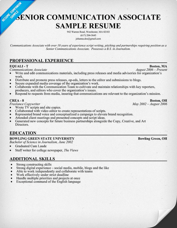 Senior Communication Associate Resume Sample
