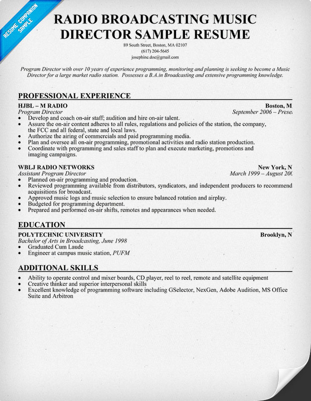 Radio Broadcasting Music Director Resume Sample