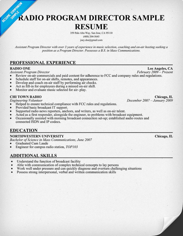 Radio Program Director Sample Resume