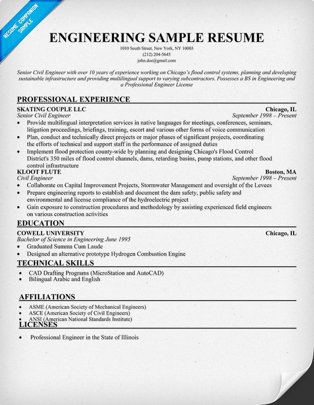 exle resume for a senior software engineer engineering