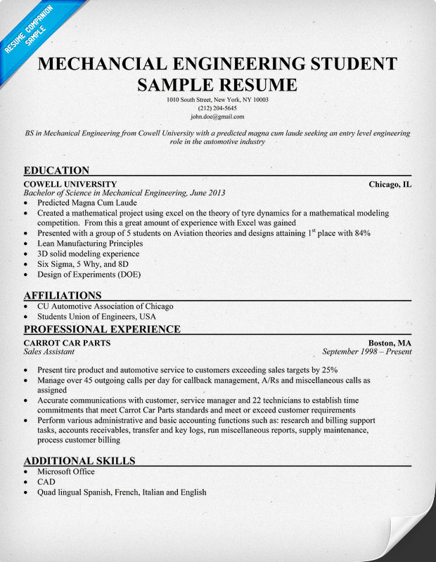 Mechanical Engineering Student Resume Sample