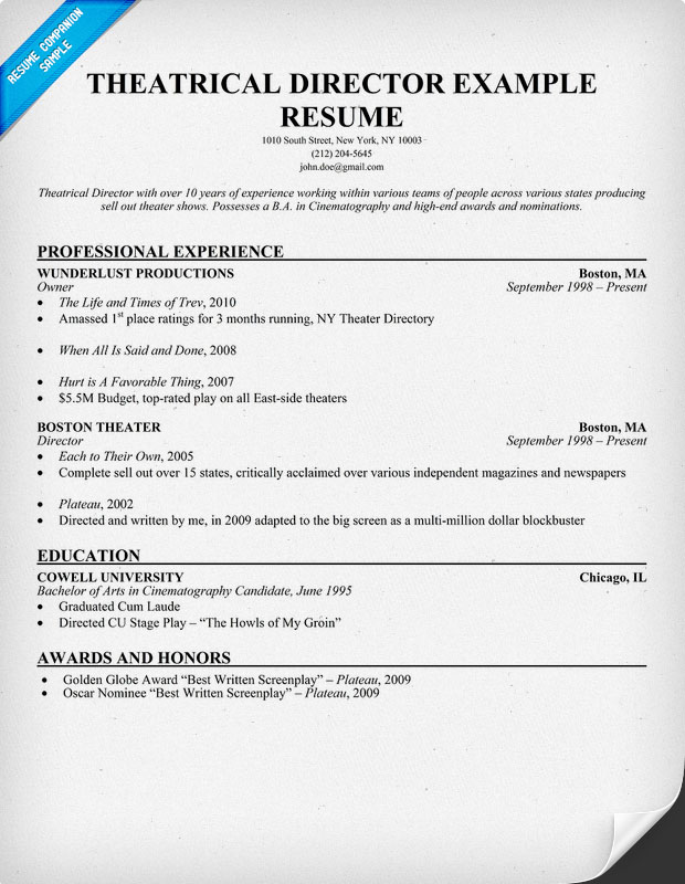 professional theatre resume exle driverlayer search