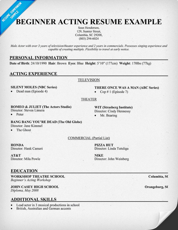Actor Resume Template | Free Latest Resume