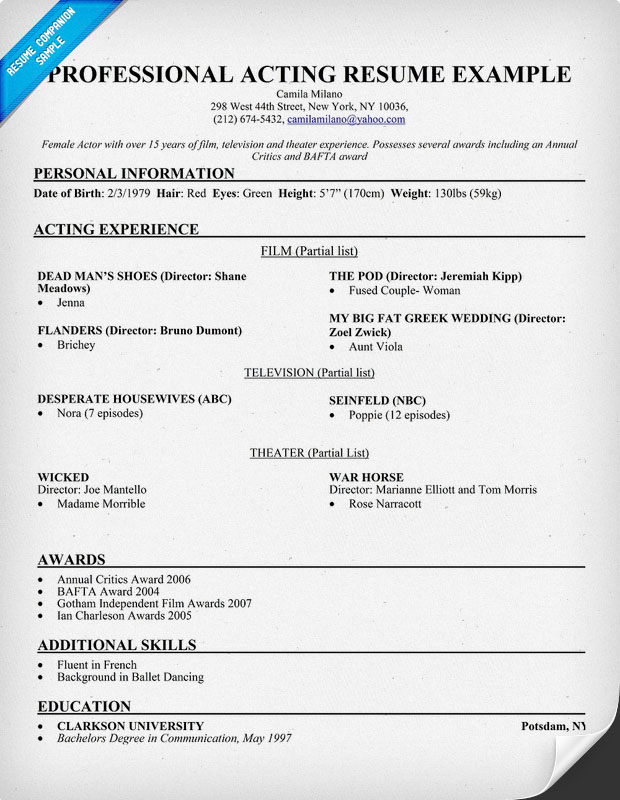 acting resume sample - Acting Resume Example