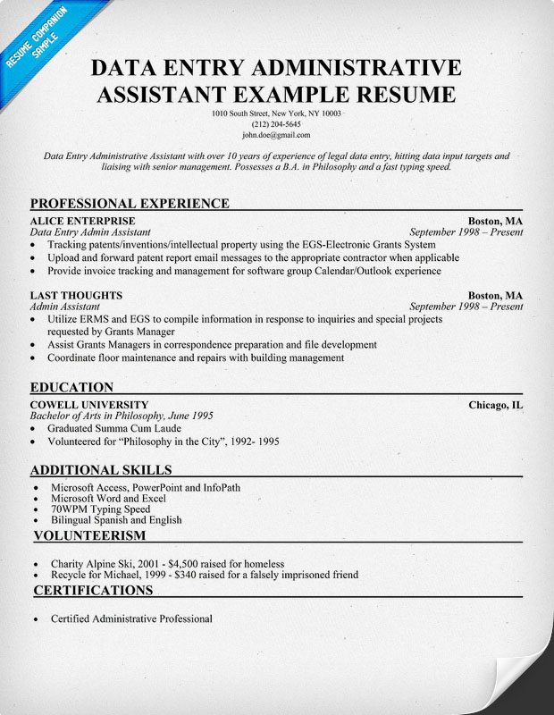data entry job description for resume 2015 | Resume Template Builder