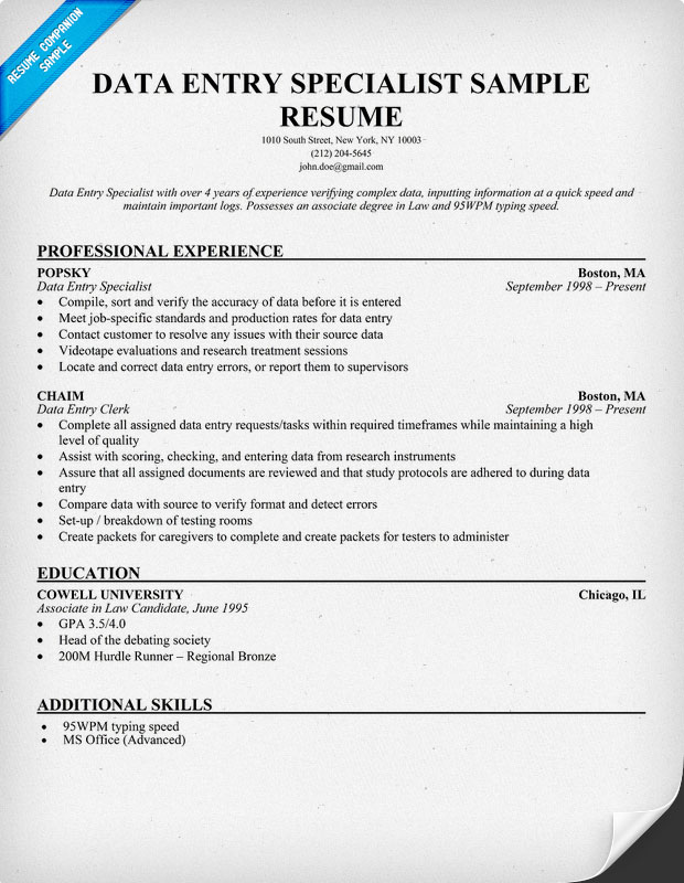Data Entry Clerk Resume Sample Resume Companion
