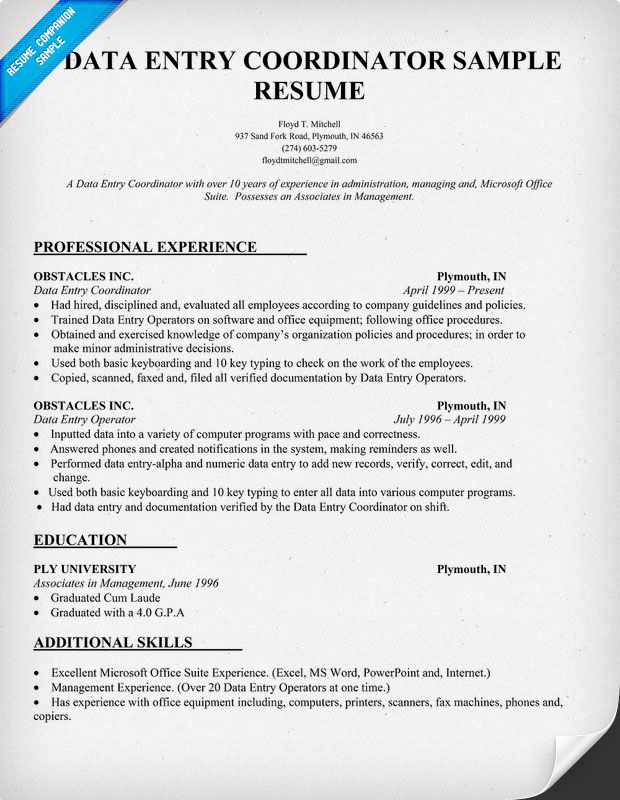 data entry resume resume cover letter data entry clerk example templates free pdf samples