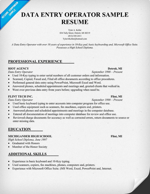data entry resume submited images